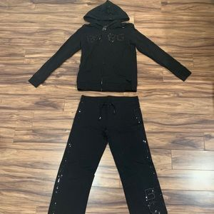 BCBG Maxazria Black Sequin Hoodie Sweatsuit Medium